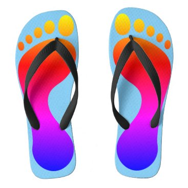 Beach Themed Neon Rainbow Footprint Beach Pool Flip Flops