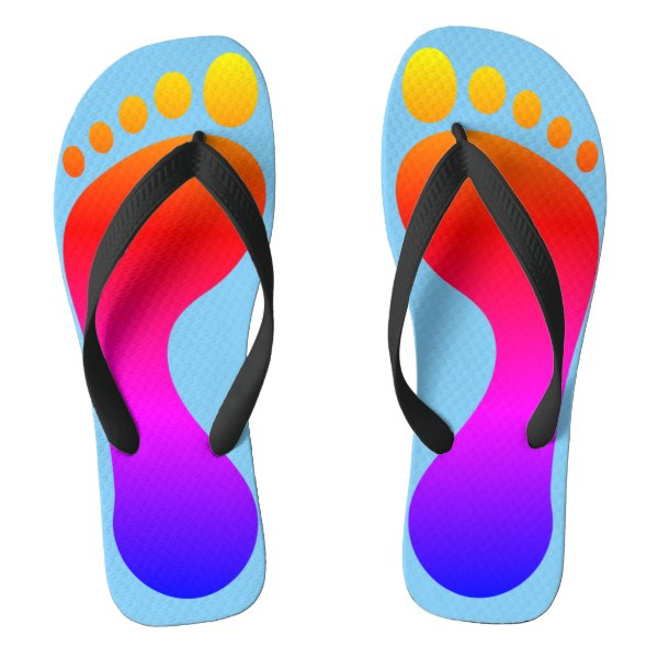 Neon Rainbow Footprint Beach Pool Flip Flops
