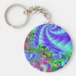 Neon Rainbow Fractal Art Basic Round Button Keychain