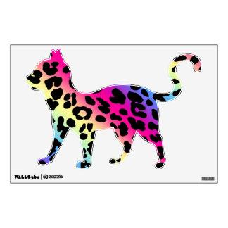 Neon Rainbow Leopard Cat Wall Sticker