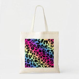 Neon Rainbow Leopard Pattern Print Tote Bag