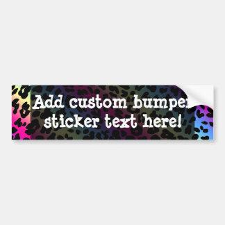 Neon Rainbow Leopard Pattern Print Bumper Sticker