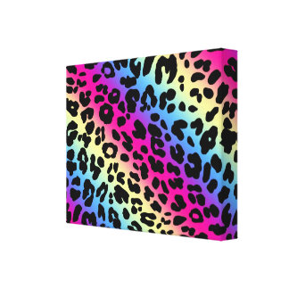 Neon Rainbow Leopard Pattern Print Gallery Wrapped Canvas