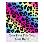 Neon Rainbow Leopard Pattern Print Full Color Flyer