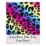 Neon Rainbow Leopard Pattern Print Full Color Flyer