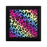 Neon Rainbow Leopard Pattern Print Gift Boxes