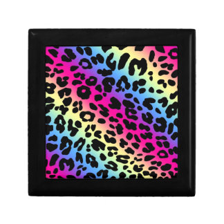 Neon Rainbow Leopard Pattern Print Gift Boxes