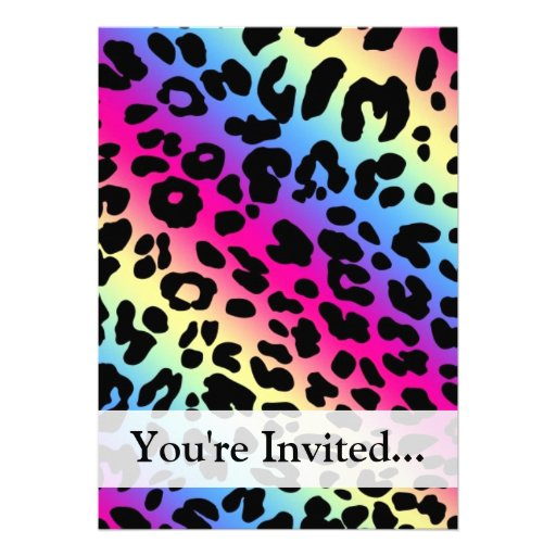Personalized Neon leopard print Invitations CustomInvitations4Ucom