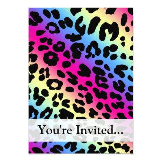 Neon Rainbow Leopard Pattern Print 5x7 Paper Invitation Card