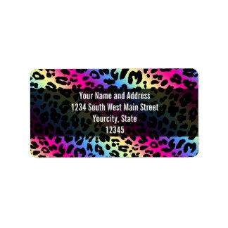 Neon Rainbow Leopard Pattern Print Label