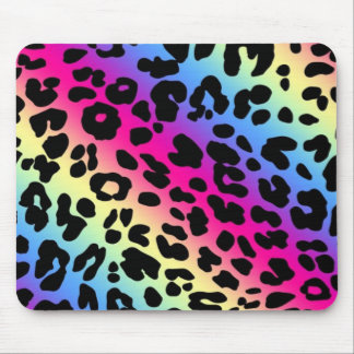 Neon Rainbow Leopard Pattern Print Mouse Pad