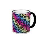 Neon Rainbow Leopard Pattern Print Mug