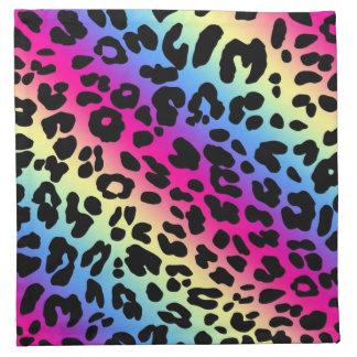 Neon Rainbow Leopard Pattern Print Cloth Napkins