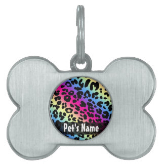 Neon Rainbow Leopard Pattern Print Pet Name Tag