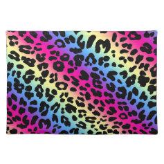 Neon Rainbow Leopard Pattern Print Place Mats