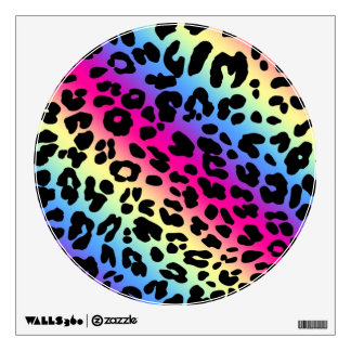 Neon Rainbow Leopard Pattern Print Room Decal