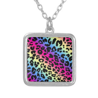 Neon Rainbow Leopard Pattern Print Silver Plated Necklace