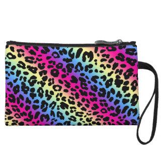 Neon Rainbow Leopard Pattern Print Wristlet Wallet