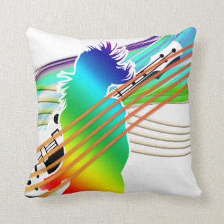 Neon Rainbow Person with Guitar Throw Pillow