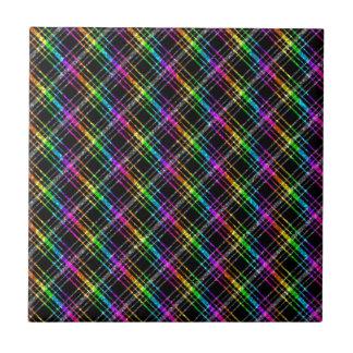 Neon Rainbow Plaid on Black Ceramic Tile