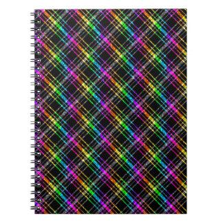 Neon Rainbow Plaid on Black Notebook