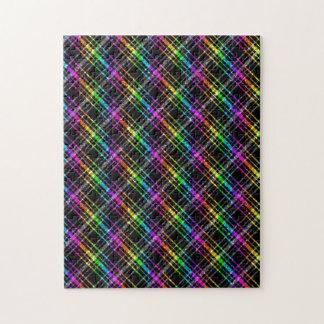 Neon Rainbow Plaid on Black Puzzles