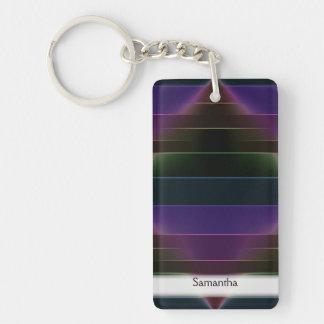 Neon Rainbow Stripes Keychain