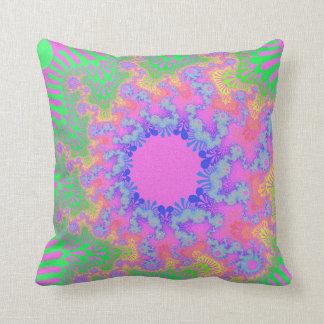 Neon Rainbow Sunburst Throw Pillow