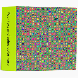 Neon Rainbow Textured Mosaic Tiles Pattern Binder