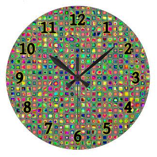 Neon Rainbow Textured Mosaic Tiles Pattern Wall Clocks