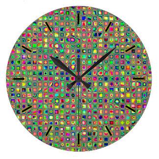 Neon Rainbow Textured Mosaic Tiles Pattern Wallclock
