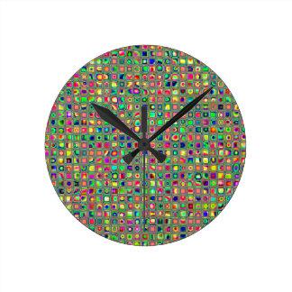 Neon Rainbow Textured Mosaic Tiles Pattern Clock