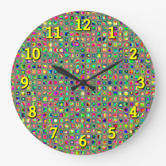 Neon Rainbow Textured Mosaic Tiles Pattern Wall Clock