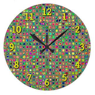 Neon Rainbow Textured Mosaic Tiles Pattern Clocks