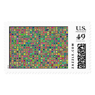 Neon Rainbow Textured Mosaic Tiles Pattern Postage Stamps