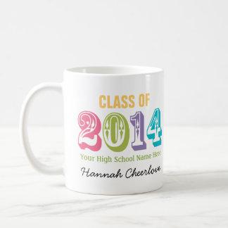 Neon Rainbow Typography Class of 2014 Classic White Coffee Mug