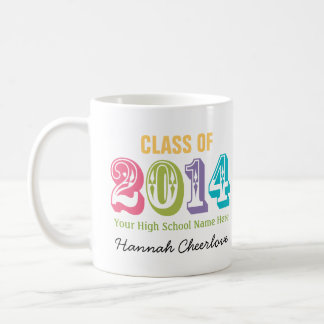 Neon Rainbow Typography Class of 2014 Coffee Mug