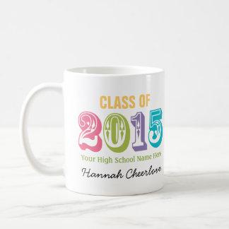Neon Rainbow Typography Class of 2015 Classic White Coffee Mug
