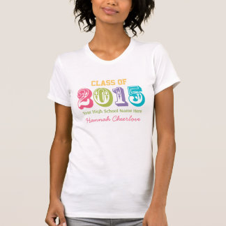 Neon Rainbow Typography Class of 2015 T-shirts