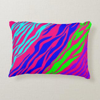 Neon Rainbow Zebra Decorative Pillow