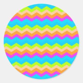 Neon Rainbow Zigzag Classic Round Sticker