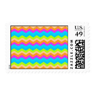 Neon Rainbow Zigzag Postage Stamp