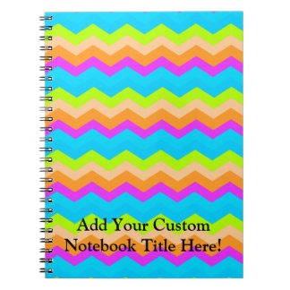 Neon Rainbow Zigzag Spiral Notebook