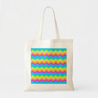 Neon Rainbow Zigzag Tote Bag