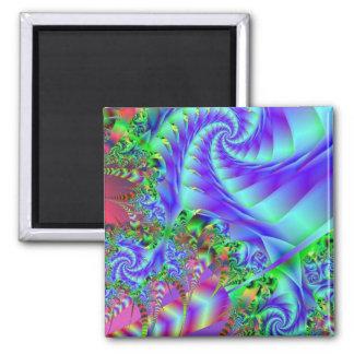 Neon Rainforest Fractal Art 2 Inch Square Magnet