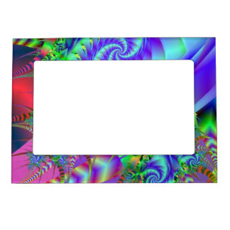 Neon Rainforest Fractal Art Magnetic Frame