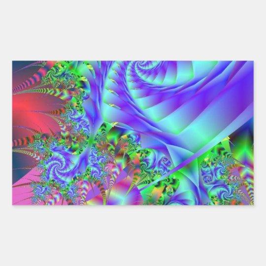 Neon Rainforest Fractal Art Rectangular Sticker