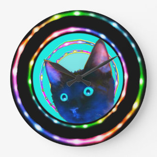 NEON RAVE CRAZY KITTY CLOCK! LARGE CLOCK