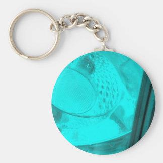 neon rear light basic round button keychain