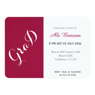 Neon Red and white graduation party Card